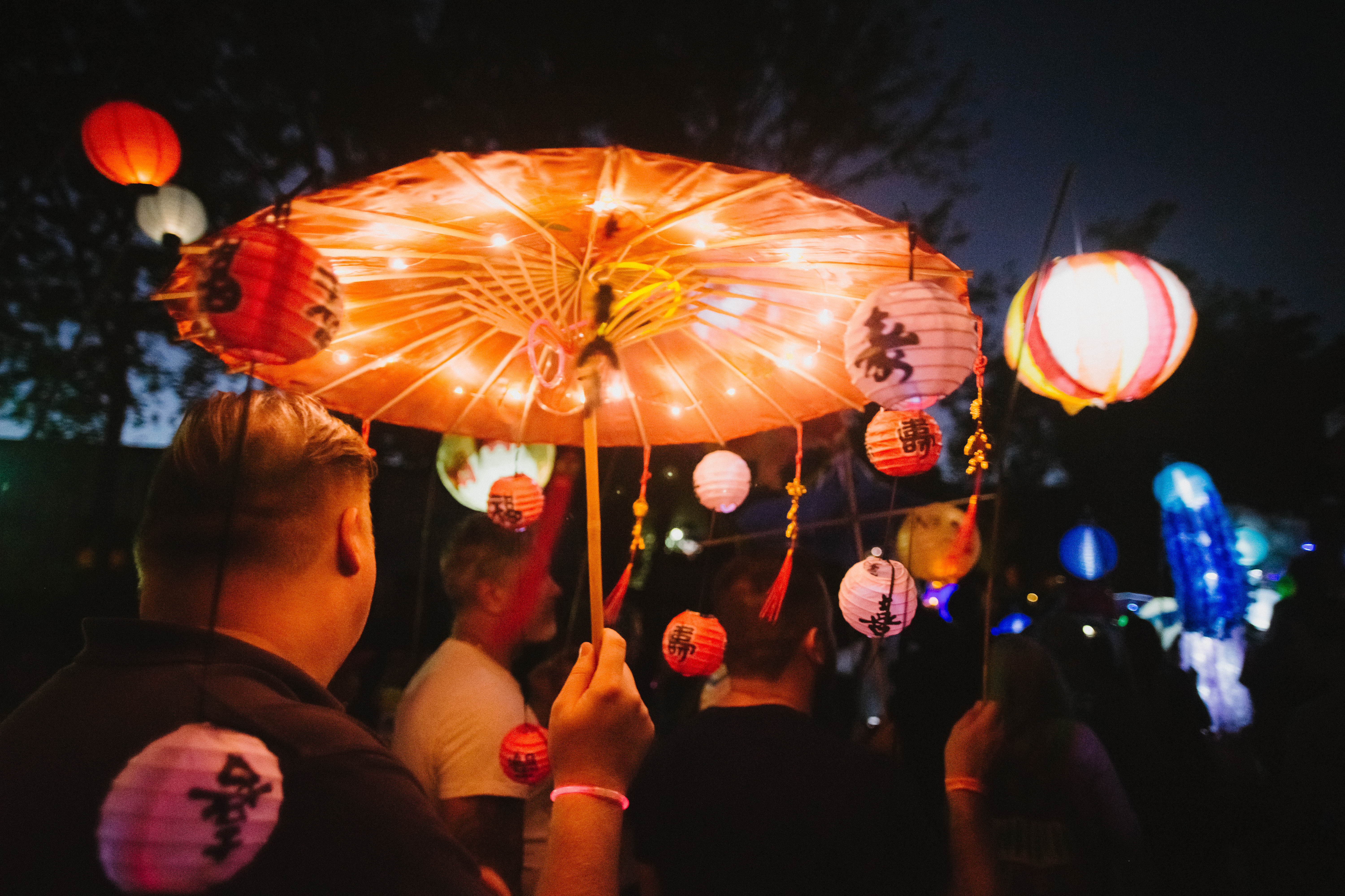 Paper lanterns are some of the most popular illuminations along the parade route.