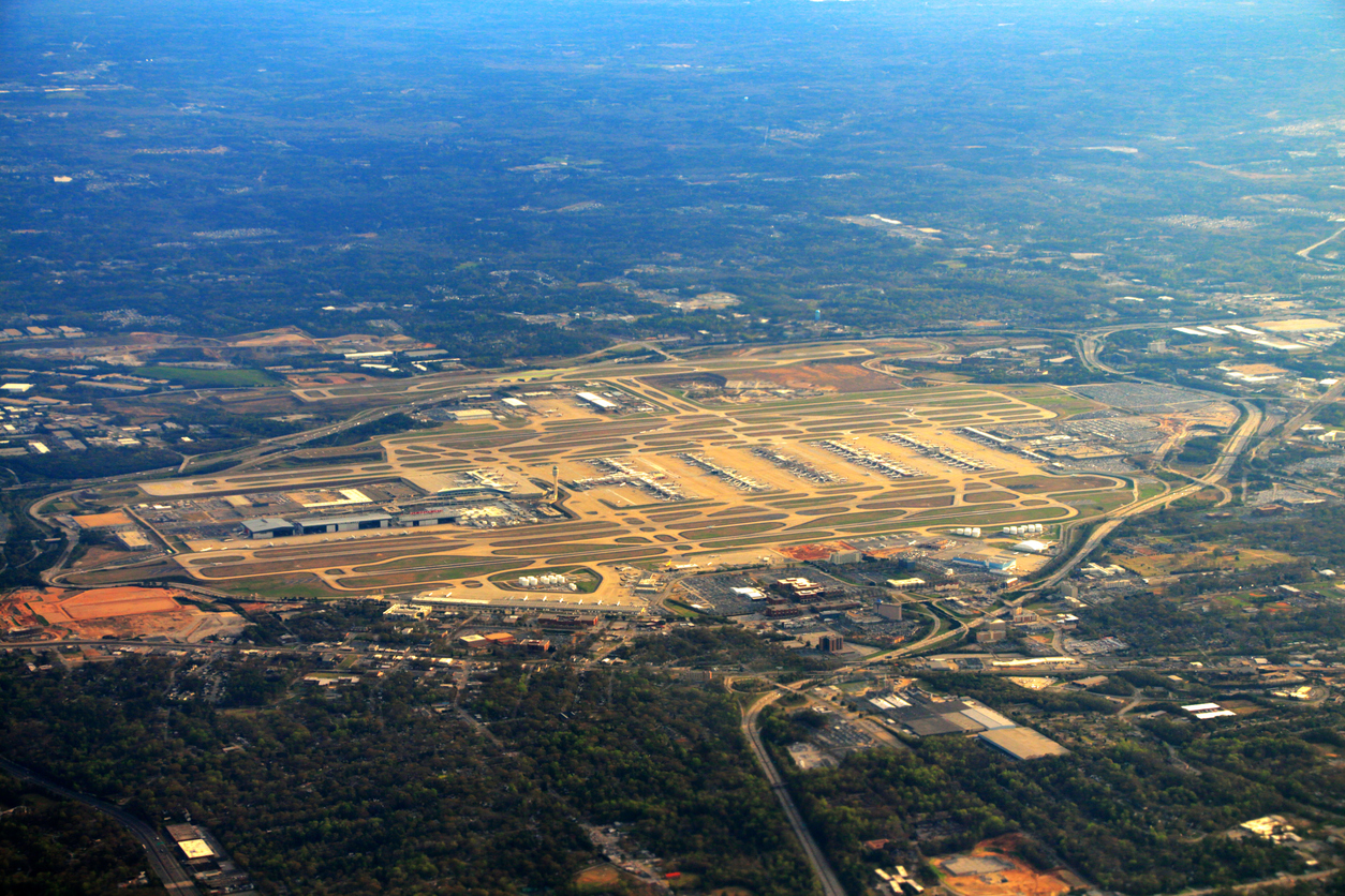 An aerial view of Hartsfield Jackson, take in 2015.
