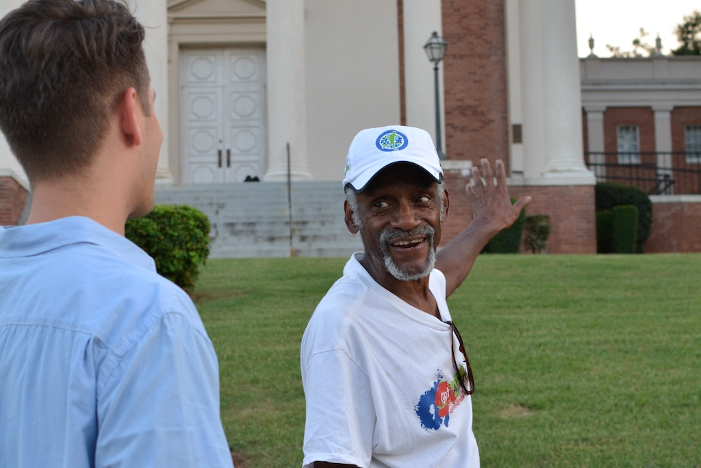 Long-time resident Robert Thompson talks about an historic West End church. Photo by Debbie Zimmerman.