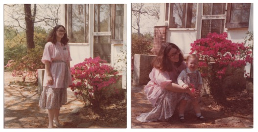 Springtime in Mountain View, 1977. Hannah Palmer's mother and sister enjoy the azaleas in their front yard.